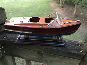 "Chris Craft Runabout Wood Model 14"" Classic Mahogany Racing Speed Boat Vintage"