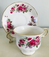 Queen Anne Cup & Saucer Pink Roses & Lilacs Ridgway Pottery Made in England