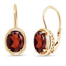 3.60 Ct Oval Vermelho Garnet 18K Amarelo Banhado A Ouro Brincos Pendurados de Prata