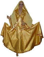 TMS GOLDEN Tissue Brocade Skirt Top Veil Belly Dance Tribal Costume Dress JUPE