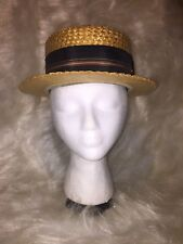 Vintage Fine Straw Master Mode Shower Proof Hat W/ Ribbon - Costume Prop