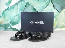 $725 CHANEL Camellia Black Leather Slide Sandals Women's Size 40 Flower SALE!