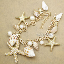 Beach Seashell Ocean Sea Life Starfish Pearl Gold Charm Chain Bracelet Bangle