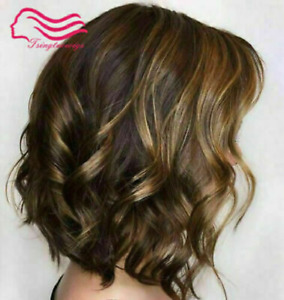 100% Human Hair Wigs Fashion Beautiful Women Short Natural Brown Wavy Full Wigs