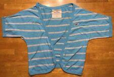 Hollister Women's Blue & Gray Striped Short Sleeve Cardigan Shrug - Medium