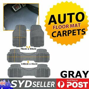 4x Grey Rubber Cars Floor Mat Protects Vehicle Floors From Water Dirt Mud Stain