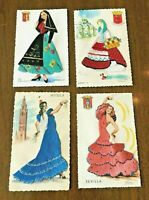 4 Vintage Silk Embroidered Postcards Artists E.Gumier,etc Women costume dresses