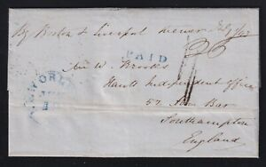 Canada 1843 Wreck of the Cunard Ship Columbia Stampless Folded Letter SFL