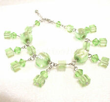 Girl 7 -9 inch Green Glass Jade Bridal Wedding Party Pub unique bracelet Gift