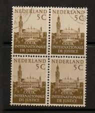NETHERLANDS SGJ23 1951 5c BROWN  BLOCK OF 4 FINE USED