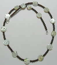 """Shell beads + brown glass pearl beads necklace 21.5"""""""