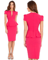 Goddess Cerise Wiggle Pencil Fitted Peplum Dress Party-Wedding-Evening-Cocktail