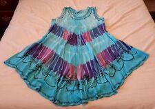Indian Rayon Tunic Summer Beach Sun Dress Casual Sleeveless Tie Dye Blue Floral