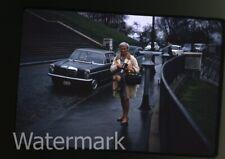 1970  kodachrome  Photo slide Lady  with movie camera  cars