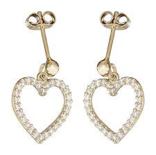 Herz Ohrhänger Gold 585 mit funkelnden Zirkonias Ohrringe Ohrstecker Herzen 14KT