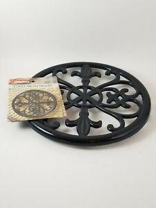 Home Basics Cast Iron Fleur De Lis Black Trivet .. New
