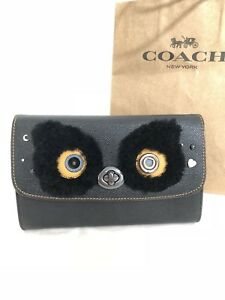 NWT Coach F22768 Bear Chain Turnlock Crossbody Purse Black $295 Limited Edition