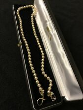 Vintage freshwater pearl necklace with gold and crystals