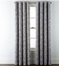 "JCPenney Home Quinn Leaf Grommet-Top Window Curtain Panel 50""x 95"" Skyline Gray"