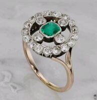 2Ct Green Emerald & Diamond 14K 2-Tone Gold FN Vintage Art Deco Engagement Ring