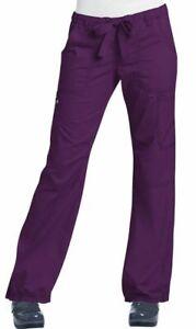 """Koi Scrubs #701 Elastic Waist Cargo Scrub Pant in """"Eggplant"""" Size XS"""