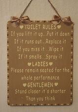 Artesanal De Madera Cuarto de baño signo Wc normas ladies/gentlemen (marrón y crema)