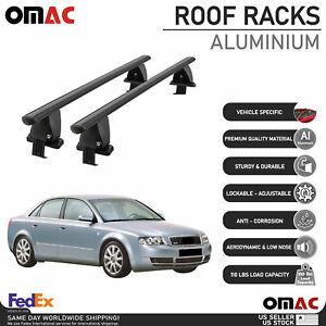 Fits Audi A4 Sedan 2002-2004 Smooth Top Roof Rack Cross Bar Carrier Rail Black