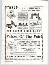 1938 PAPER AD Stanlo Toy Master Building Novelty Doll Melody Player J Chein