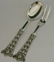 BEAUTIFUL LARGE NORWEGIAN SOLID STERLING SILVER SERVERS c1940s 128g SERVING SET