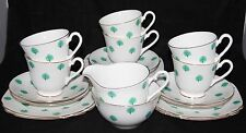 Windsor China - 21 Piece Teaset - Green Leaf - 6 x Trios + Milk Jug & Sugar Bowl