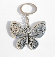 Antique Style Butterfly Keyring Chrome Metal Key Chain Gift Boxed
