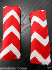 Baby Seat Belt Strap Covers Car Highchair Stroller- Red Minky Chevron MUST SEE