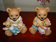 "Two Porcelain Bear Figurines 4"" Tall Family of Bears #1444 Homco"
