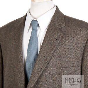BROOKS BROTHERS Sport Coat 50R Mossy Brown Herringbone Wool Tweed 1818 Madison