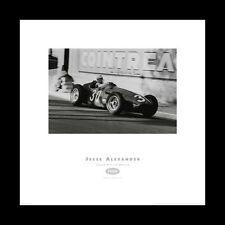 Monaco Grand Prix 1956 Jean Behra Maserati Historic B&W Racing Poster Print