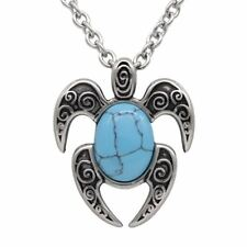 Lucky Turtle Necklace with Nature Turquoise Gemstone Pendant Jewelry By Controse
