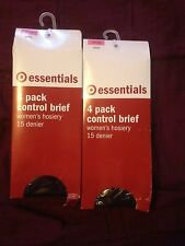 2 x target essentials 4 pack control briefs pantyhose black  average bnip (L)