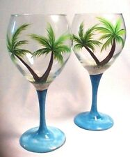 SET OF TWO HAND PAINTED DOUBLE PALM TREE WINE GLASSES -  FREE PERSONALIZATION