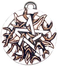 Magical Pentagrams: Fire Pentagram (PR9) Pendant, Wiccan, Gold Flames, Elemental