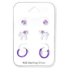 Set 3 Sterling Silver Crystal Purple Unicorn Sleeper Stud Earrings Hoop Children