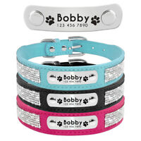 Bling Rhinestone Small Dog Collar Personalised ID Nameplate Engraved Soft Suede