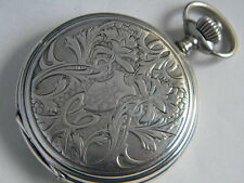 PAUL DITISHEIM SOLVIL HUNTER POCKET WATCH STERLING SILVER 52MM CA 1900