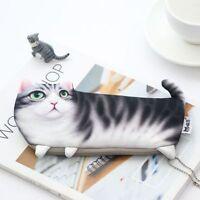 Cat Shaped Pen Pencil Bag Makeup Organizer Purse Cosmetics Storage Bag