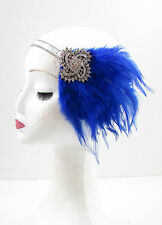 Blue & Silver Feather Headpiece 1920s Headband Flapper Great Gatsby Vintage 613