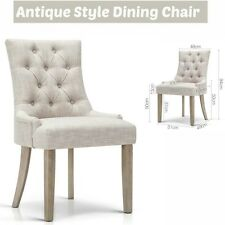 Dining Chair Antique French Provincial Style Tufted Button Seat Bedroom Beige