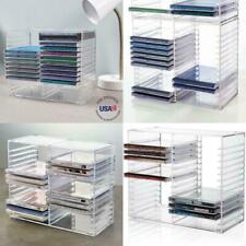 Clear Plastic CD Holder Storage Rack Stacking Tray DVD Disk Case Space Organizer