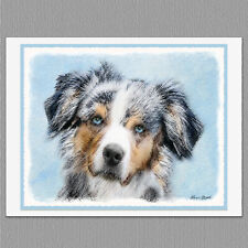 6 Miniature American Australian Shepherd Blank Art Note Greeting Cards