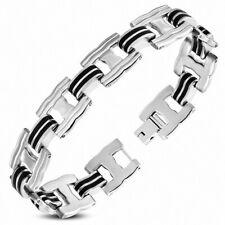 Man Bracelet Steel Silver with Link Rubber Black