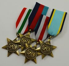 4 WW2 Campaign Medals, Ribbons 1939-1945, Air Crew, Italy, France & Germany Star