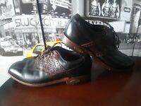 FootJoy Premiere Classics Dry Mens Brown Crocodile Leather golf shoes  US 9.5